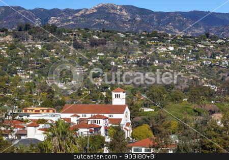 White Adobe Methodist Church Houses Mountain Santa Barbara alifo stock photo, White Abobe Methodist Church Steeple Houses Mountain Suburbs Santa Barbara California. by William Perry