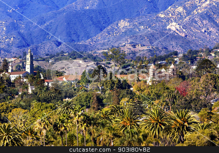 Mission Santa Barbara Mountains Palm Trees California  stock photo, Mission Mountains Palm Trees Santa Barbara California.  Founded in 1786 at the end of Father Junipero Serra life. by William Perry