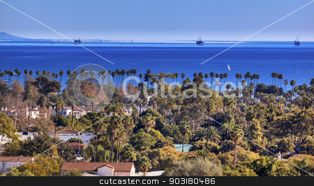 Oil Well Offshore Platforms Houses Buildings Pacific Ocean Santa stock photo, Oil Wells Offshore Platforms Houses Buildings Coastline Pacific Oecan Santa Barbara California  by William Perry