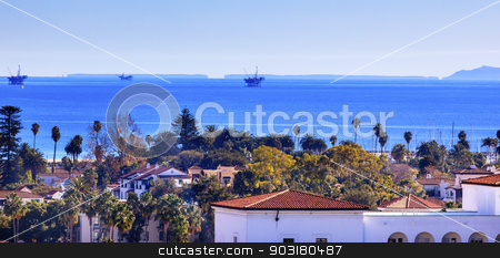 Oil Well Offshore Platforms Courthouse Buildings Pacific Ocean S stock photo, Oil Wells Offshore Platforms Court House Buildings Coastline Main Street Pacific Oecan Santa Barbara California  by William Perry