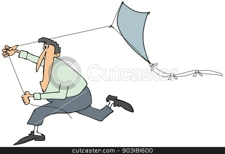 Man running with a kite stock photo, This illustration depicts a man running while pulling a blue kite with a tail. by Dennis Cox