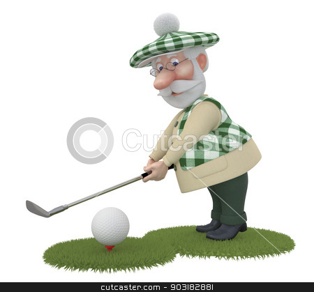 3d little man golfist. stock photo, Game the best occupation outdoors after work. by karelin721