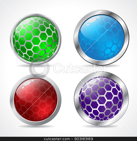 Abstract 3d button designs  stock vector clipart, Abstract 3d button designs with hexagon elements by Mihaly Pal Fazakas