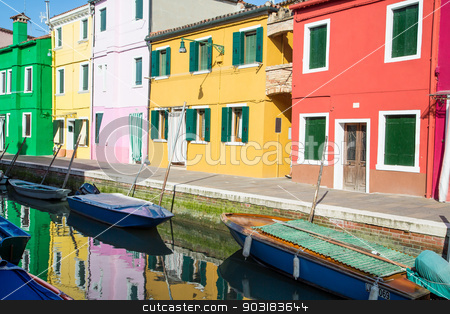 Green Yellow and Red Homes on Burano Canal stock photo, Boats in Canal by Colorful Burano Homes by Darryl Brooks