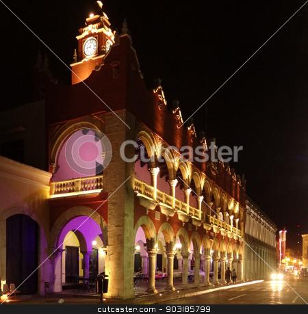 Merida stock photo, Illuminated night scenery of Merida in Yucatan, Mexico by prill