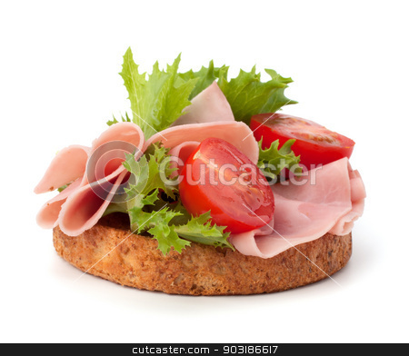 healthy sandwich with vegetable and smoked ham   stock photo, healthy sandwich with vegetable and smoked ham  isolated on white background by Natika