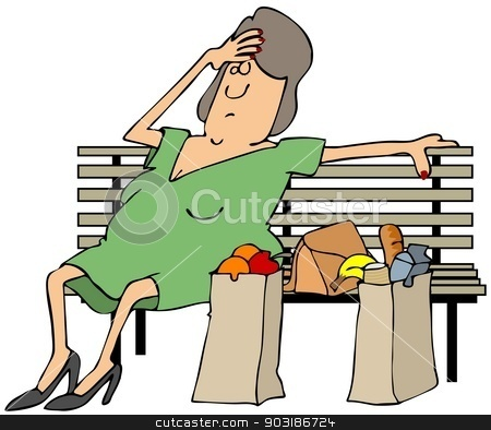 Tired shopper stock photo, This illustration depicts a tired woman shopper resting on a bench with her purse and sacks of groceries beside her. by Dennis Cox