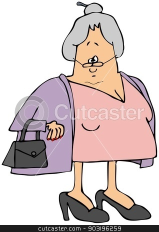 Old woman wearing a sweater stock photo, This illustration depicts an old woman wearing a pink dress and lavender sweater. by Dennis Cox