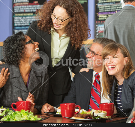 Four Happy Friends stock photo, Diverse group of four happy executives having lunch by Scott Griessel