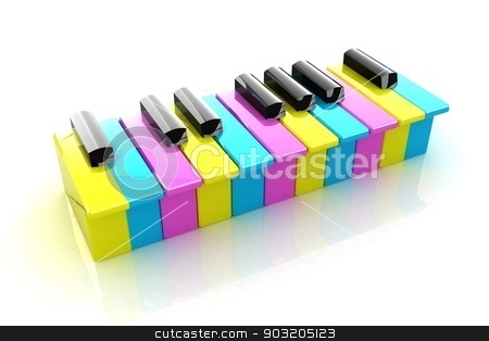 Colorfull piano keys stock photo, Colorfull piano keys on a white background  by Guru3D