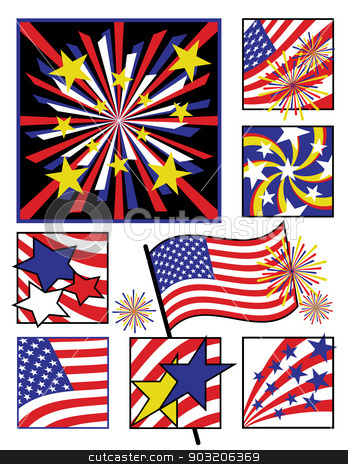 American Celebrations stock vector clipart, Collection of eight designs for America's birthday celebration by Lisa Fischer