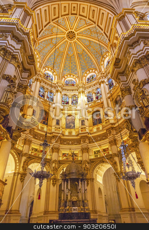 Basilica Dome Stained Glass Cathedral Andalusia Granada Spain stock photo, Basilica Dome Stained Glass Cathedral Andalusia Grandada Spain.  Built in the 1500s, housing the tombs of King Ferdinand and Isabella.  Dome by Diego de Siloe, 16th Century Stained Glass by Juan del Campo. by William Perry