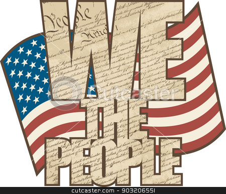 Aged We The People stock vector clipart, Text design filled with the Constitution of the United States with the American Flag in the background in aged colors. by Lisa Fischer