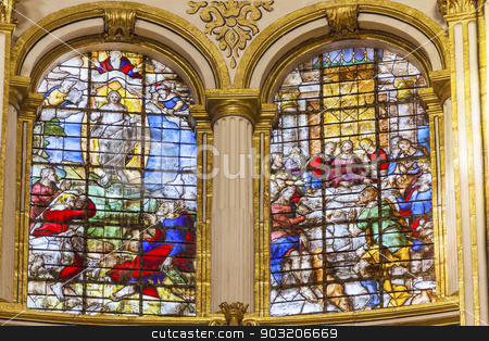 Ascension Last Supper Stained Glass Basilica Cathedral Andalusia stock photo, Ascension Last Supper Stained Glass Basilica Cathedral Andalusia Granada Spain.  16th Century Stained Glass by Juan del Campo.  Built in the 1500s, housing the tombs of King Ferdinand and Isabella.   by William Perry