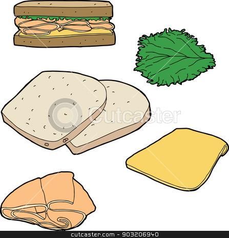 Turkey Sandwich Stock Vector