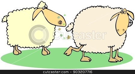 Sheep farts stock photo, This illustration depicts a sheep letting farts in anothers face. by Dennis Cox