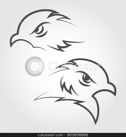 Icon eagle heads, outline style stock vector clipart, Illustration icon eagle heads, outline style - vector by -=Mad Dog=-