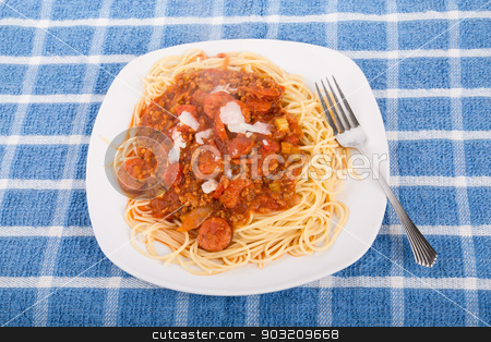 Spaghetti with meat and sausage stock photo, Fresh plate of delicious spaghetti with beef and sausage  meat sauce and parmesan cheese by Darryl Brooks