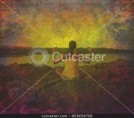 girl in lotus position on the rock  grunge background