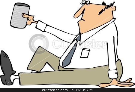 Businessman begging for change stock photo, This illustration depicts a businessman sitting on the ground and holding up a can for money. by Dennis Cox