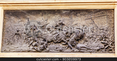 King Ferdinand Battle with Moors 1492 Isabella Colombus Statue A stock photo, King Ferdinand Battle with Moors 1492 Isabella Colombus Statue Andalusia Granada Spain.  Statue made in 1892 in Rome.  This bronze shows Battle of Granada in 1492 by William Perry