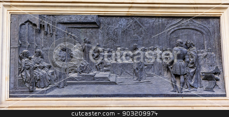 1492 Isabella Ferdinand in Court with Colombus Statue Built 1892 stock photo, 1492 Isabella and Ferdinand in Court with Colombus Bronze Statue Andalusia Granada Spain.  Statue made in 1892 in Rome.   by William Perry