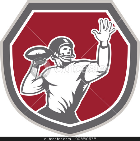 American Football Quarterback Throw Ball Shield Retro stock vector clipart, Illustration of an american football gridiron quarterback player throw ball facing front set inside crest shield on isolated background done in retro style. by patrimonio