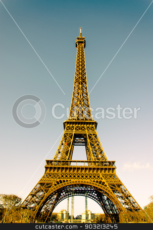 Eiffel Tower in Paris stock photo, Eiffel Tower at day in Paris, France. Vintage Photos by aoo3771