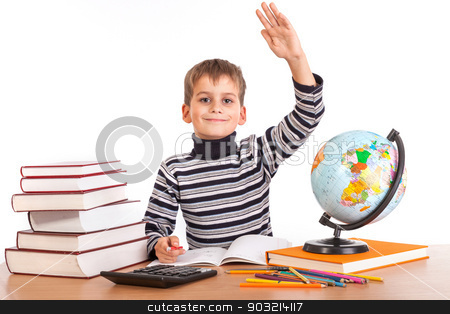 Cheerful Schoolboy ready to answer question stock photo, Cheerful Schoolboy ready to answer question isolated on a white background by bloodua