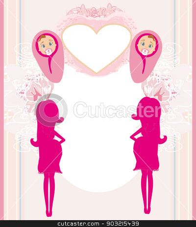 pregnant woman it has a birth to a girl - baby shower card  stock vector clipart, pregnant woman it has a birth to a girl - baby shower card  by Jacky Brown