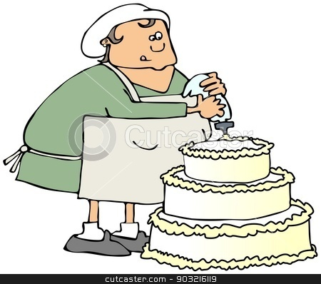 Cake decorator stock photo, This illustration depicts a woman decorating a large cake. by Dennis Cox