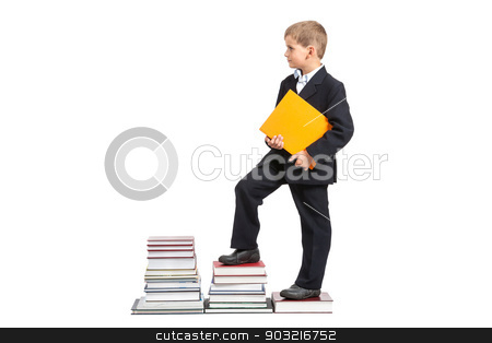 Education success graph. Back to school stock photo, Education success graph - successful schoolboy isolated on white background. Back to school by bloodua