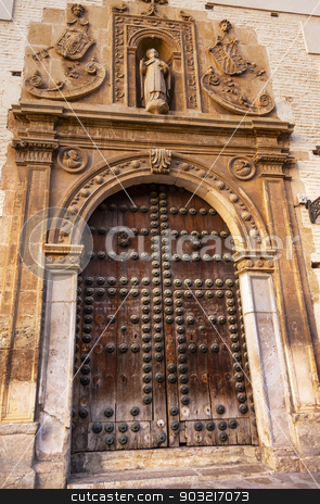 Old Wooden Door Walking Street Carrera Del Darro Covento de Sant stock photo, Old Wooden Door Walking Street Evening Carrera Del Darro Covento de Santa Catalina Albaicin Granada Andalusia Spain by William Perry