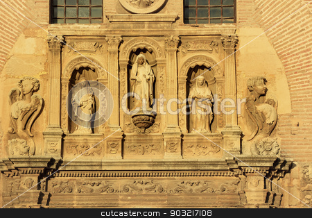 Statues Angels Facade Church Iglesia of Santa Anna Rio Darro Gra stock photo, Statues Facade Angels Church of Santa Anna Iglesia de Santa Anna Granada Andalusia Spain  Built in the 1500s in Mudejar style on the Rio Darro. by William Perry