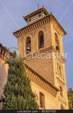 Church Iglesia of Santa Anna Rio Darro Granada Andalusia Spain stock photo, Church of Santa Anna Iglesia de Santa Anna Granada Andalusia Spain  Built in the 1500s in Mudejar style on the Rio Darro. by William Perry