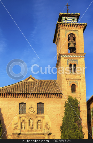 Church Iglesia of Santa Anna Rio Darro Granada Andalusia Spain stock photo, Church of Santa Anna Iglesia de Santa Anna Granada Andalusia Spain  Built in the 1500s in Mudejar style on the Rio Darro. by William Perry