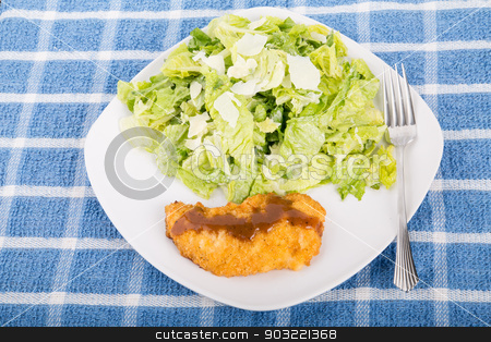 Breaded Chicken Breast with Sauce and Salad stock photo, A chicken breast with barbecue sauce and a caesar salad by Darryl Brooks