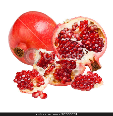 Pomegranate stock photo, Ripe pomegranate fruit isolated on white background by Grafvision