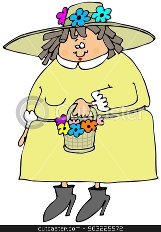 Woman wearing a spring bonnet stock photo, This illustration depicts a chubby woman holding a basket of flowers and wearing a colorful spring bonnet. by Dennis Cox