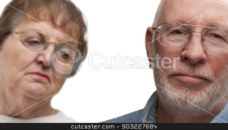 Meloncholy Senior Couple on White stock photo, Meloncholy Senior Couple Isolated on a White Background. by Andy Dean