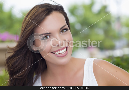 Pretty Mixed Race Girl Portrait Outdoors stock photo, Pretty Mixed Race Girl Portrait Outdoors at the Park. by Andy Dean