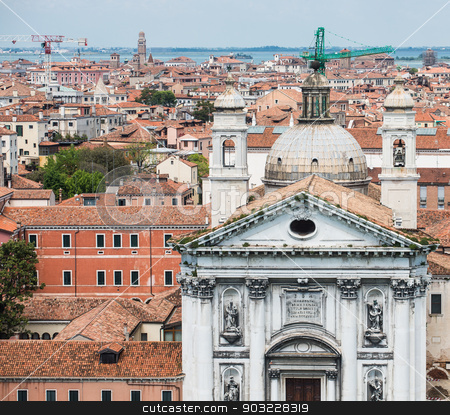 Church with Venice Rooftops stock photo, Tile rooftops and church domes across Venice skyline by Darryl Brooks