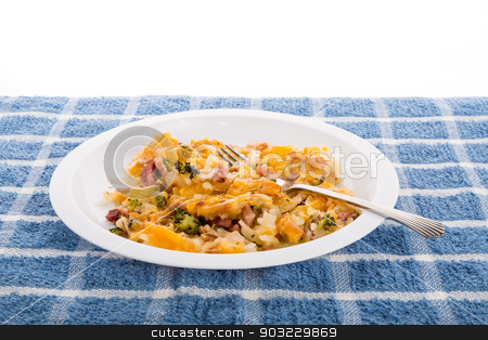 Cheese on Ham and Broccoli Hash Browns stock photo, Casserole of hash brown potatoes, ham and broccoli with cheese by Darryl Brooks