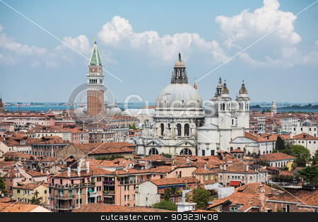 Church Domes and Saint Marks Tower stock photo, Tile rooftops and church domes across Venice skyline by Darryl Brooks