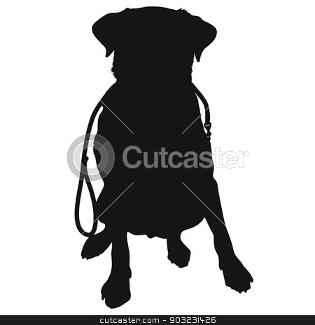 Labrador Retriever Leash Silhouette stock vector clipart, A silhouette of a sitting Labrador Retriever holding a leash in it's mouth and waiting to go for a walk. This could also be a generic short haired dog by Maria Bell