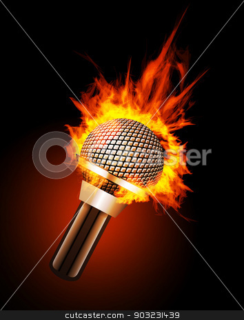 Microphone in Fire stock vector clipart, Microphone in Fire Isolated on Black Background. Vector illustration by sermax55
