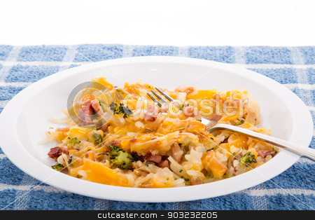 Bowl of Has Brown Potatoes with Ham Broccoli and Cheese stock photo, Casserole of hash brown potatoes, ham and broccoli with cheese by Darryl Brooks
