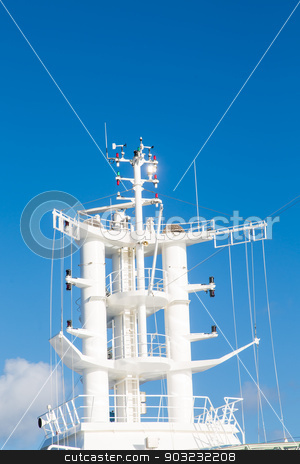Satellite and Radio Antennas on Cruise Ship stock photo, Satellite and communication equipment on a luxury cruise ship by Darryl Brooks