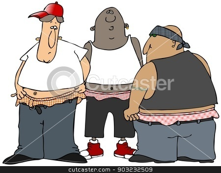 Gangbangers stock photo, This illustration depicts three men with low-riding pants exposing their underwear. by Dennis Cox