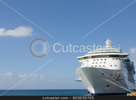 Cruise Ship and Copy Space stock photo, Luxury Cruise Ship Anchored Under Nice Skies at Harbor on St Croix by Darryl Brooks